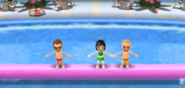 Cole, Misaki, and Fritz participating in Splash Bash in Wii Party
