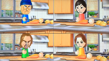 Misaki, Ryan and Elisa participating in Chop Chops in Wii Party