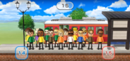 Emily, Luca, David, Hiromasa, Nick, Nelly, Miguel, Shohei, and Abe featured in Commuter Count in Wii Party
