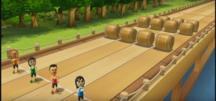 Saburo, Rin, and Ryan participating in Flap Hurdles in Wii Party