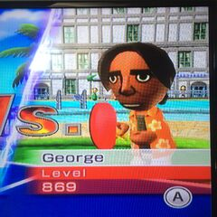 George about to play a Table Tennis match.