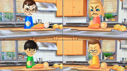 Asami, Holly, Ren and Oscar participating in Chop Chops in Wii Party