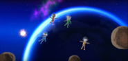George, Lucia, and Takumi participating in Moon Landing in Wii Party