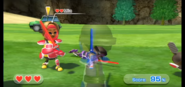 Mia wearing Red Armor in Swordplay Showdown