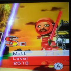 Matt using a red sword in Swordplay Duel.