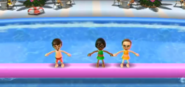 Luca, Ai, and Barbara participating in Splash Bash in Wii Party