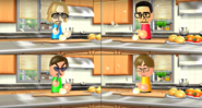 Shouta, Vincenzo, and Chris participating in Chop Chops in Wii Party