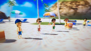 Steve, Luca and Yoshi participating in Flag Fracas in Wii Party