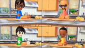 Ai, Jake, Rin and Theo participating in Chop Chops in Wii Party