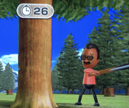 Hiroshi participating in Timber Topple in Wii Party