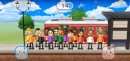 Nelly, Pablo, Silke, Alex, Giovanna, Marco, Jackie, Fumiko, and Naomi featured in Commuter Count in Wii Party