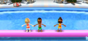 Nelly, Tommy, and Gwen participating in Splash Bash in Wii Party