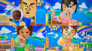 Shinta, Marisa, Yoko and Pierre participating in Cry Babies in Wii Party
