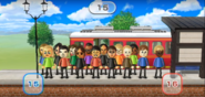 Abby, Holly, Eva, Pablo, Midori, Chika, Hiroshi, Shinnosuke, Tatsuaki, Susana, Nelly, Jessie, Haru, Pierre, and Stephanie featured in Commuter Count in Wii Party
