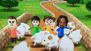 Alex, Rainer, Rin and Midori participating in Ram Jam in Wii Party
