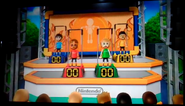 Greg, Silke, and Shinnosuke participating in Chin-Up Champ in Wii Party