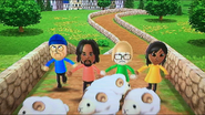 Alex, Nelly and Haru participating in Ram Jam in Wii Party