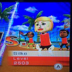 Silke playing Basketball at High Noon.