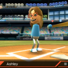 Ashley about to play Baseball