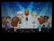 Miis congratulating Matt, Lucia, and Alisha