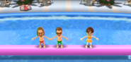 Ryan, Cole, and Emily participating in Splash Bash in Wii Party