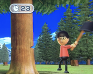 Ren participating in Timber Topple in Wii Party