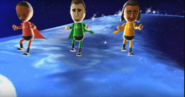 Theo, Rainer, and David participating in Space Brawl in Wii Party
