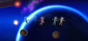 Jake, Eduardo, and Eva participating in Moon Landing in Wii Party