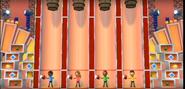Kathrin, Eduardo, and Saburo participating in Barrel Daredevil in Wii Party