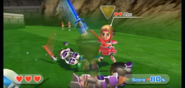 Abe wearing Red Armor in Swordplay Showdown