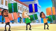 Patrick, Jessie and Tommy participating in Shifty Gifts in Wii Party