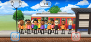 Matt, Marisa, Tommy, Theo, Rin, Patrick, Tyrone, Andy, and Eddy featured in Commuter Count in Wii Party