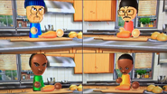 Shinnosuke, Eduardo and Theo participating in Chop Chops in Wii Party