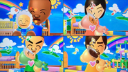 Theo, Misaki, Takashi and Hiromi participating in Cry Babies in Wii Party