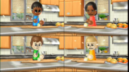 Maria, Pierre, and Silke participating in Chop Chops in Wii Party