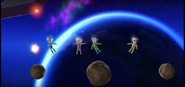 Eddy, Takumi, and Asami participating in Moon Landing in Wii Party