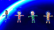 Tommy, Misaki, Fritz and Hiromi participating in Moon Landings in Wii Party
