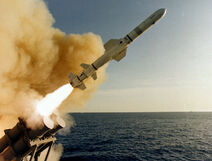 AGM-84 Harpoon launched from USS Leahy (CG-16)
