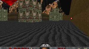 El jugador deja atrás un cohete en E2M8 de Doom