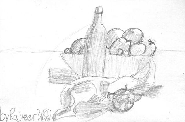 File:Rajveer Ubhi Still Life Fruit & Bottle.jpg