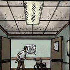 Rick marche seul dans l'hôpital. (<a href=