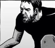 Carson assesses Rick's leg