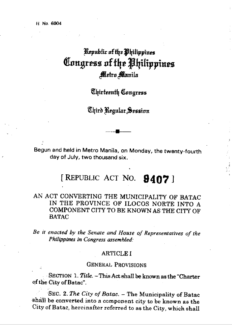 RA09407 Charter of the City of Batac