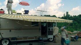 Side shot of the RV in Atlanta Camp