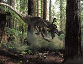 Ornitholestes and babies Allosaurus