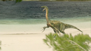 Therizinosaurus roars on beach, The Giant Claw