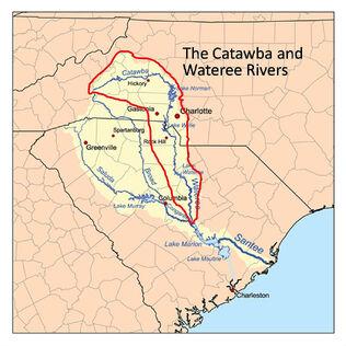 Catawba Wateree River basin map