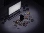 Sunako watching TV with snacks