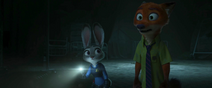 Judy and nick sees at a lab door