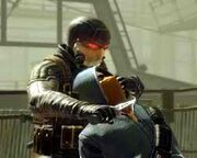A picture of Wesley wearing the Killer Suit and slitting the throat of a Nightmare.